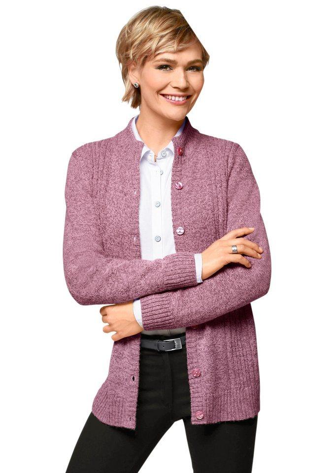 Classic Basics Cardigan mit apartem Zopfmuster in rosé-meliert