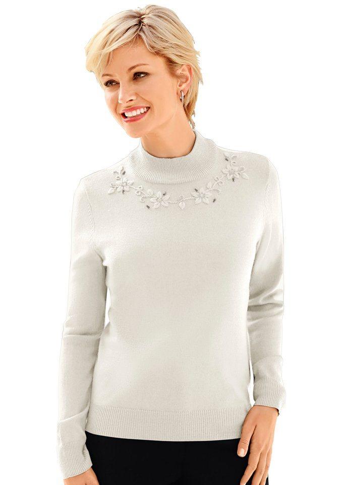 Classic Pullover mit romantischer Stickerei in wollweiß