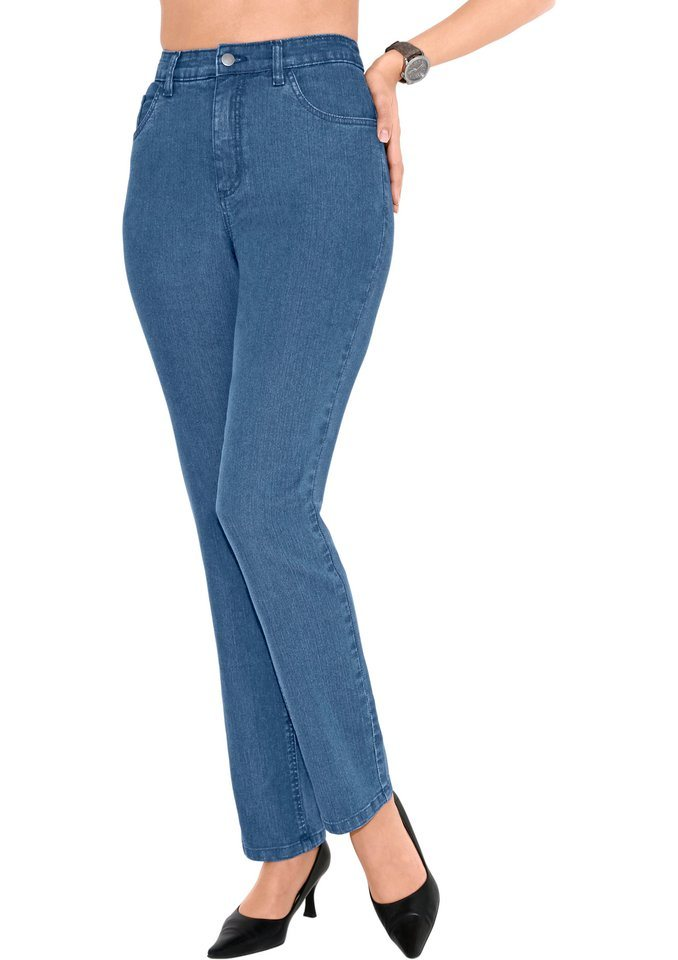 Classic Basics Jeans mit etwas höherem Bund in blue-bleached