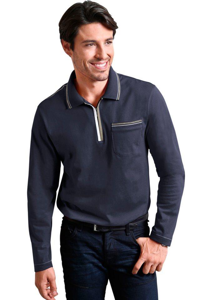 Classic Basics Poloshirt mit Seitenschlitze in marine
