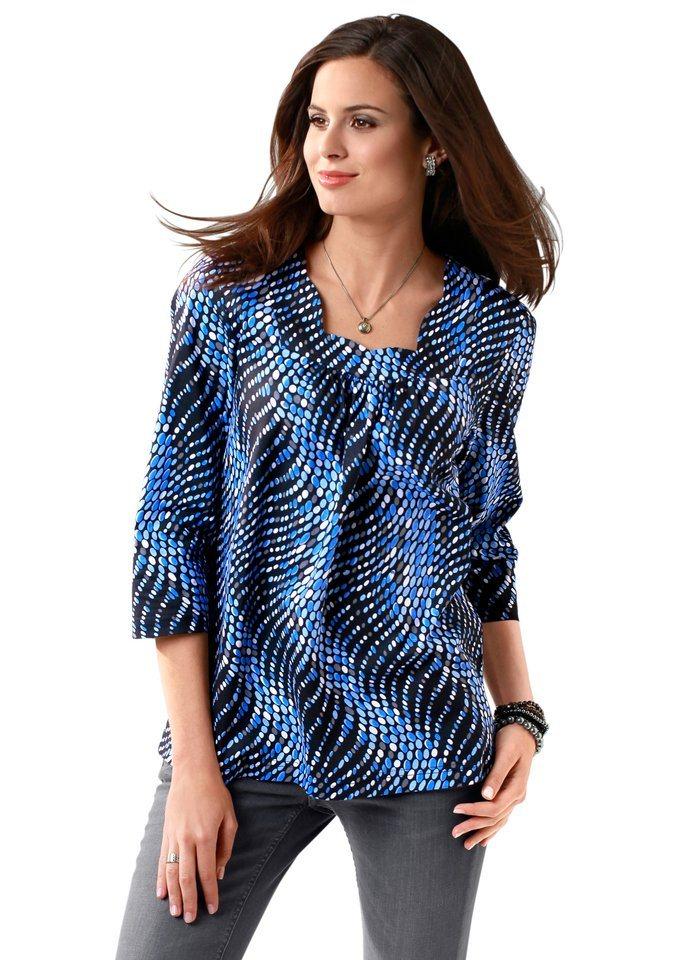Classic Basics Shirt mit schön gebogenem Karree-Ausschnitt in blau-gemustert