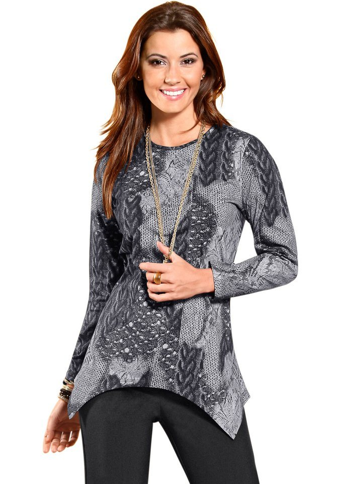 Classic Basics Shirttunika mit asymmetrischem Zipfelsaum in grau-schwarz-bedruckt