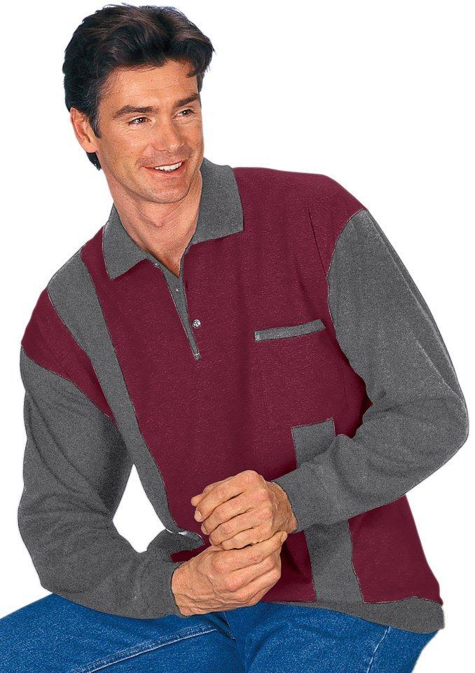 Classic Basics Poloshirt in attraktivem Streifendessin in aubergine