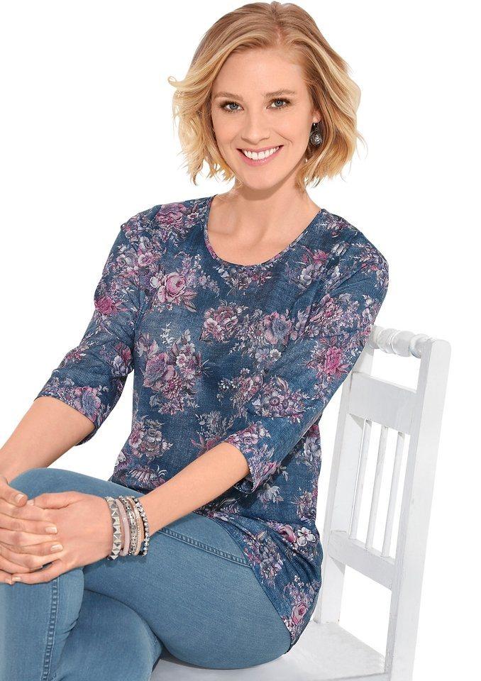 Classic Basics Shirt in pflegeleichter Qualität in jeansblau-bedruckt