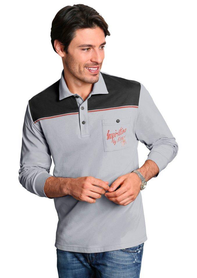 Classic Basics Poloshirt in Single-Jersey-Qualität in grau-schwarz