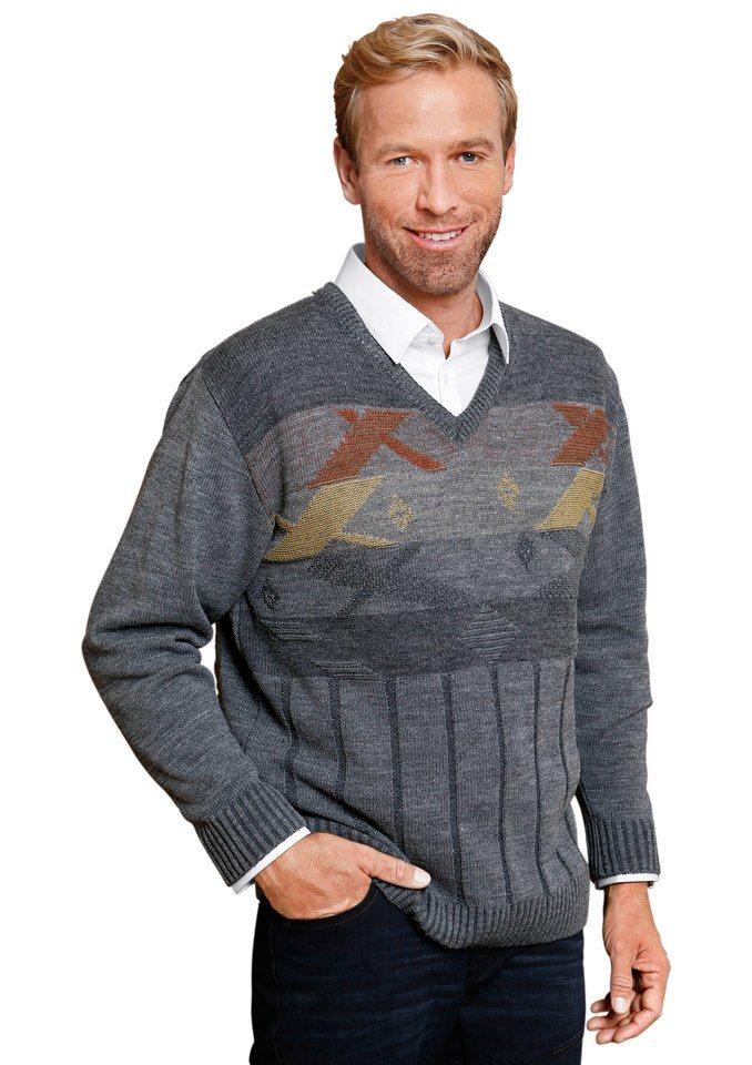 Classic Basics V-Pullover mit grafischem Muster in grau-meliert