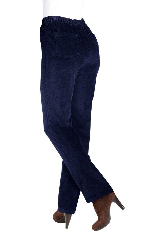 Classic Basics Cord-Hose mit fester Bundpatte vorne für eine flache Bauchpartie in marine