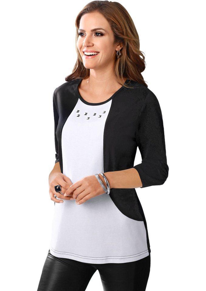 Classic Basics Shirt mit 3/4-Ärmel in schwarz-weiß
