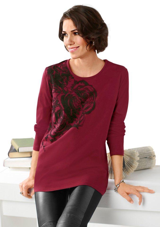 Classic Basics Shirt mit paspeliertem Rundhals-Ausschnitt in bordeaux-bedruckt