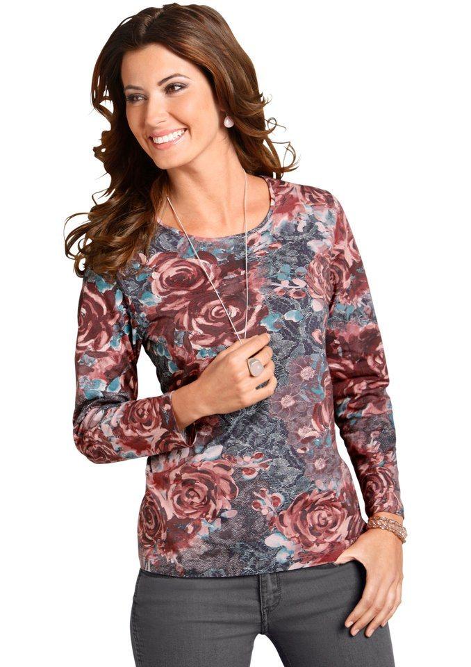 Classic Basics Shirt mit Rundhals-Ausschnitt in bordeaux-bedruckt