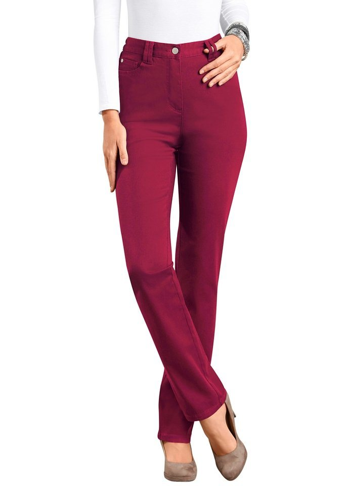 Classic Basics Stretch-Hose in toller Passform in weinrot