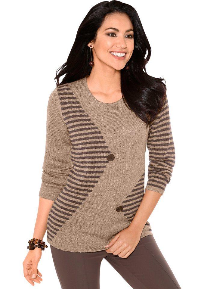 Classic Basics Pullover mit Schmuckknöpfen im Vorderteil in beige-gestreift