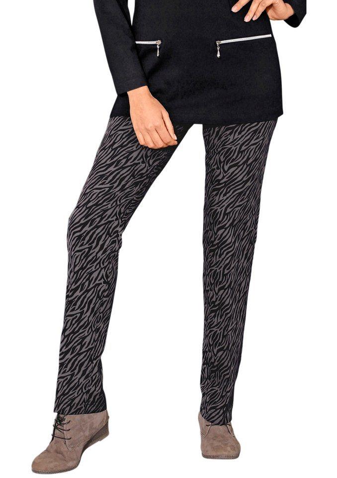 Classic Basics Hose mit komfortablem Rundum-Dehnbund in grau-schwarz-gemustert