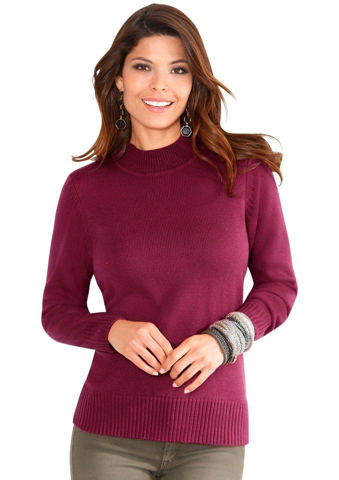 Classic Basics Pullover mit geripptem Stehkragen in fuchsia