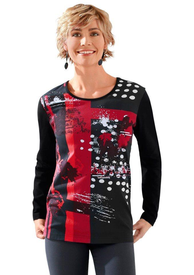 Classic Basics Shirt mit Rundhals-Ausschnitt. in schwarz-rot