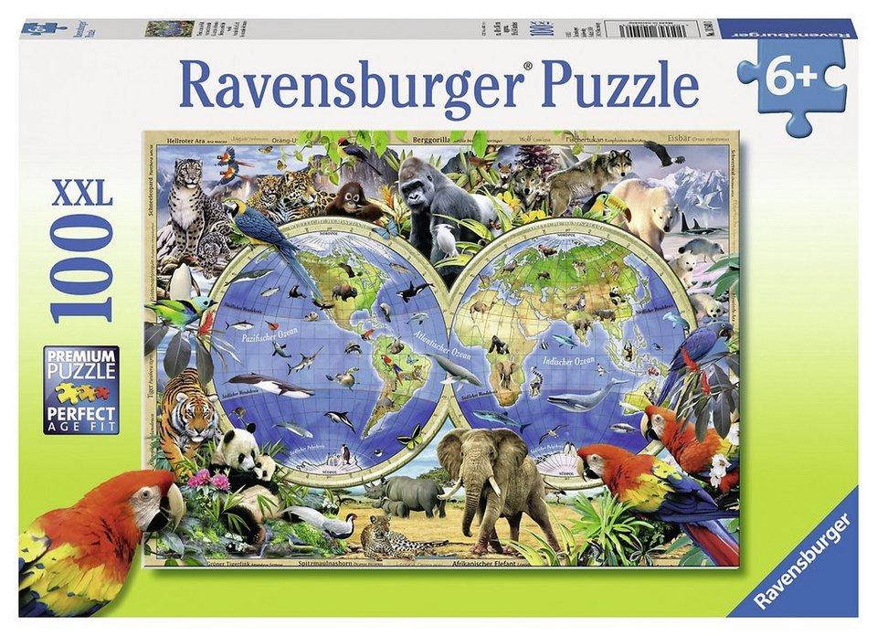 Ravensburger Puzzle, 100 Teile, »Tierisch um die Welt«