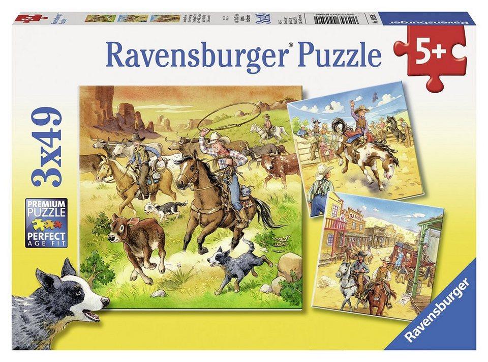 Ravensburger Puzzle, 3x49 Teile, »Im wilden Westen«