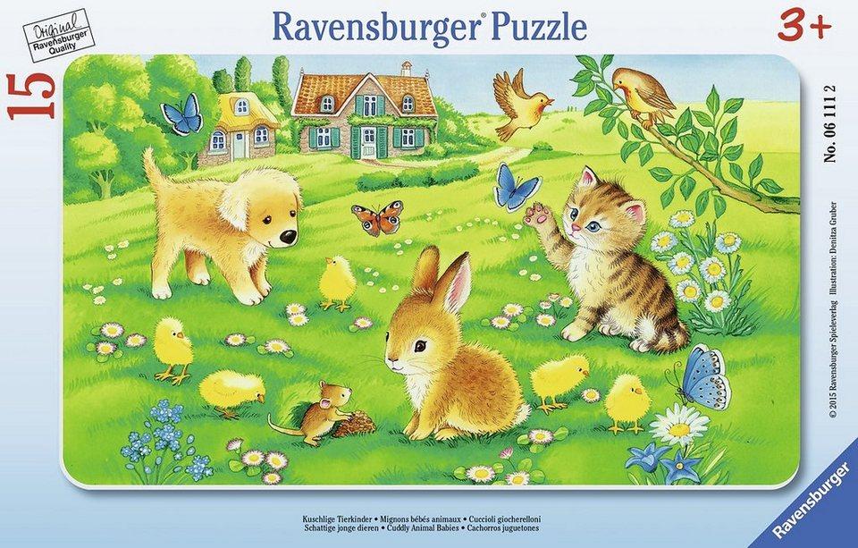 Ravensburger Rahmenpuzzle,15 Teile, »Kuschlige Tierkinder«