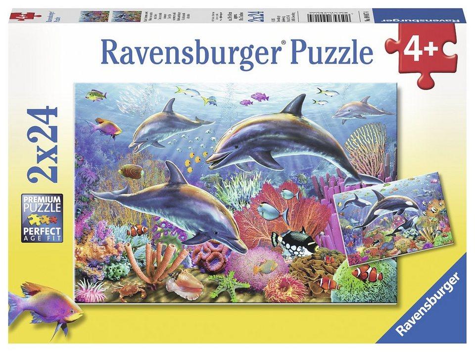 Ravensburger Puzzle, 2x24 Teile, »Bunte Unterwasserwelt«