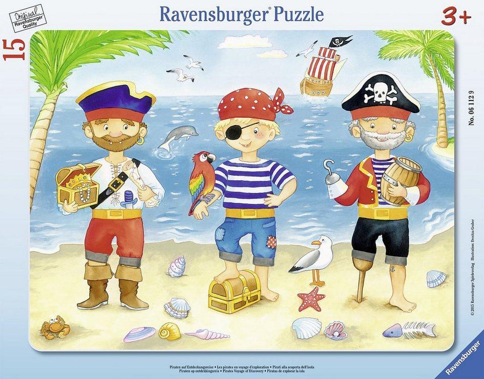 Ravensburger Rahmenpuzzle, 15 Teile, »Piraten auf Entdeckungsreise«