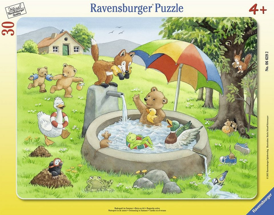 Ravensburger Rahmenpuzzle, 30 Teile, »Badespaß im Sommer«