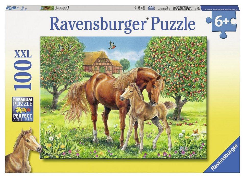 Ravensburger Puzzle, 100 Teile, »Pferdeglück auf der Wiese«