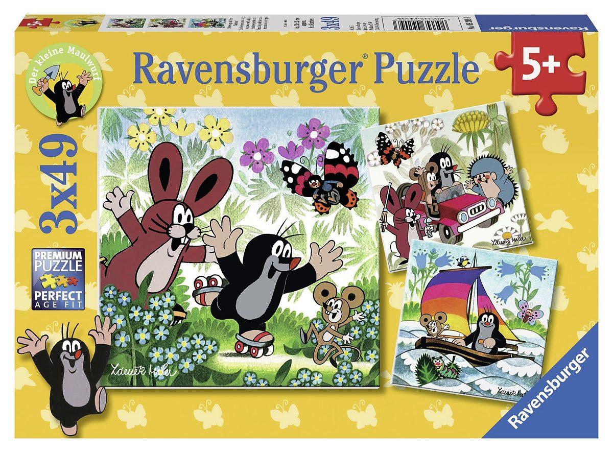 Ravensburger Puzzle, 3x49 Teile, »Unterwegs mit dem Maulwurf«
