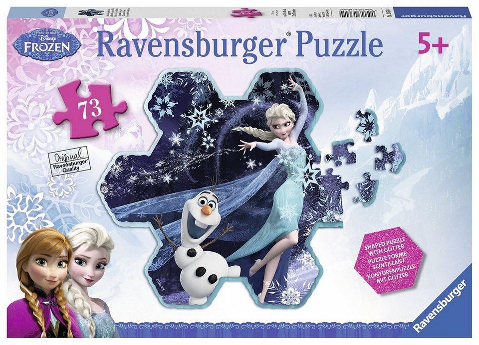 Ravensburger Glitzerpuzzle, 73 Teile, »Disney Frozen-Elsas Schneeflocke«