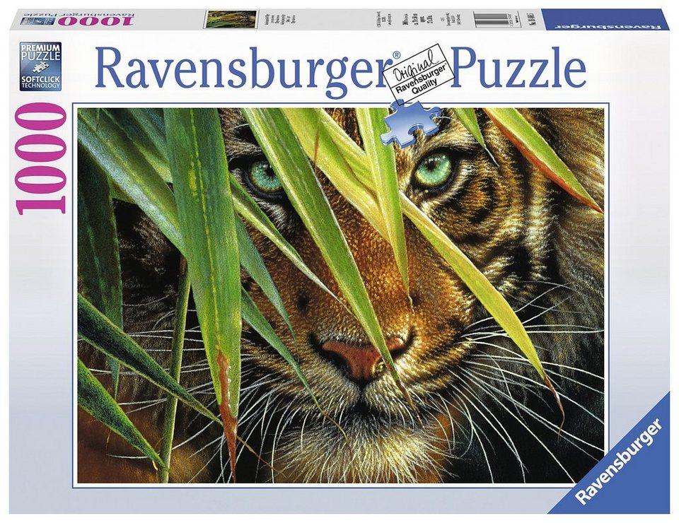 Ravensburger Puzzle, 1000 Teile, »Geheimnisvoller Tiger«