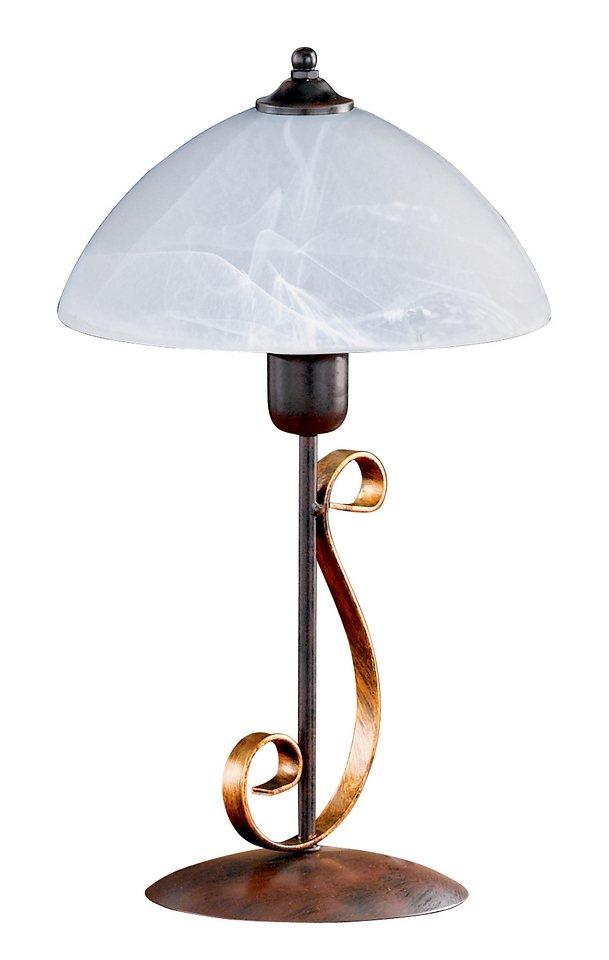 Honsel Leuchten Tischleuchte, 1 flammig, »Lisa 94111« in Leuchte zweifarbig rostfarbig antik - goldfarbig, Schirm alabasterfarbig weiß