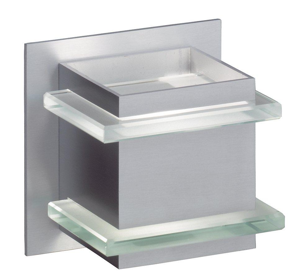 Honsel Leuchten Wandleuchte, 1 flammig, inkl. Leuchtmittel in Leuchte Aluminium mattiert, Glas teilsatiniert
