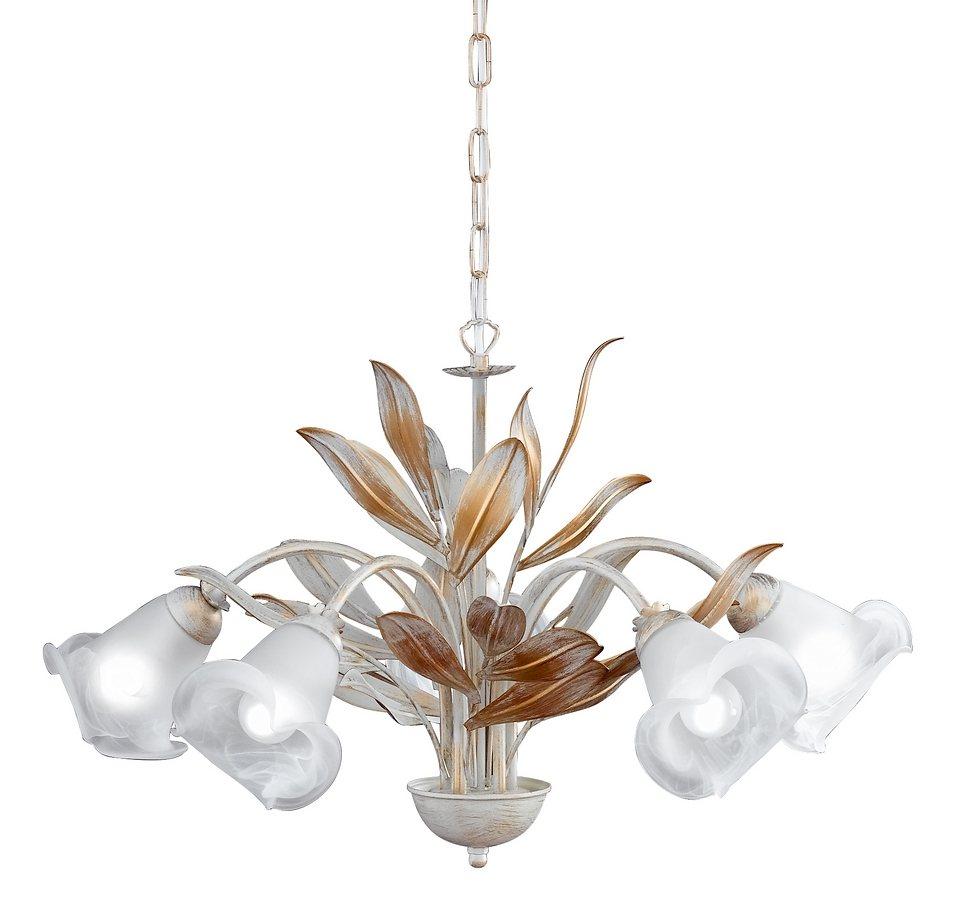 Honsel Leuchten Pendelleuchte, 5 flammig, »Valencia 19285« in Leuchte in antik weiß, Glas alabasterfarbig weiß
