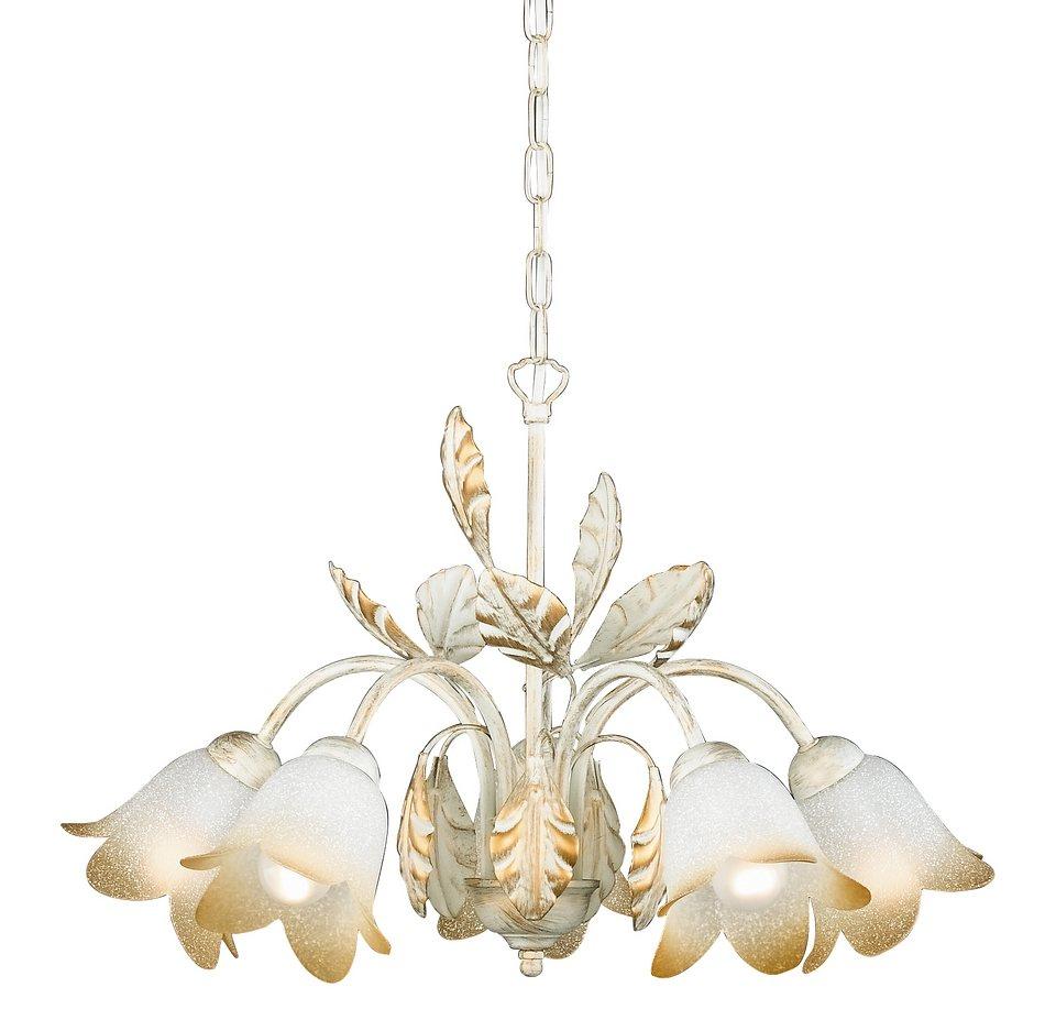 Honsel Leuchten Pendelleuchte, 5 flammig, »Salerno 18865« in Leuchte in weiß/goldfarbig, Glas weiß dekoriert