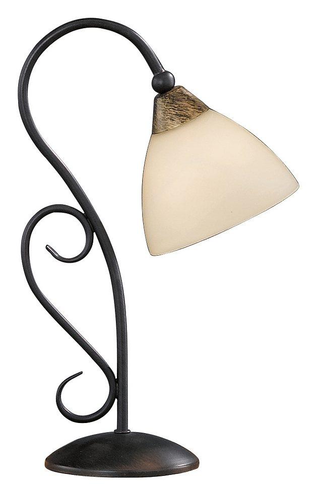 Honsel Leuchten Tischleuchte, 1 flammig in Leuchte rostfarbig antik, Schirm alabasterfarbig/champ