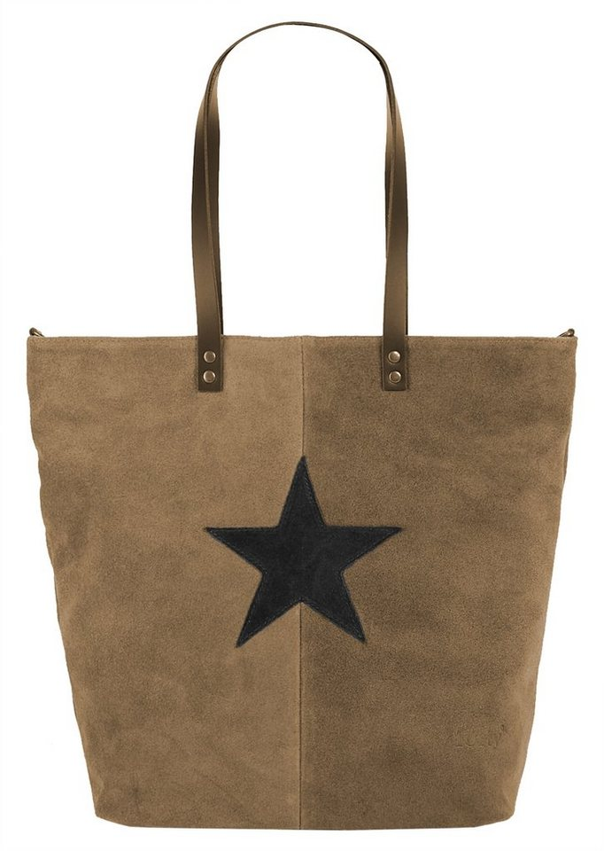 Forty degrees Leder Damen Shopper in taupe