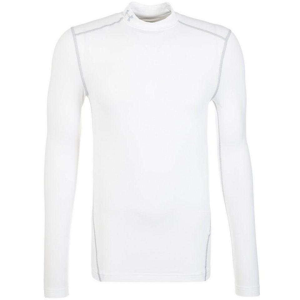 Under Armour® ColdGear Compression Mock Funktionsshirt Herren in weiß / grau