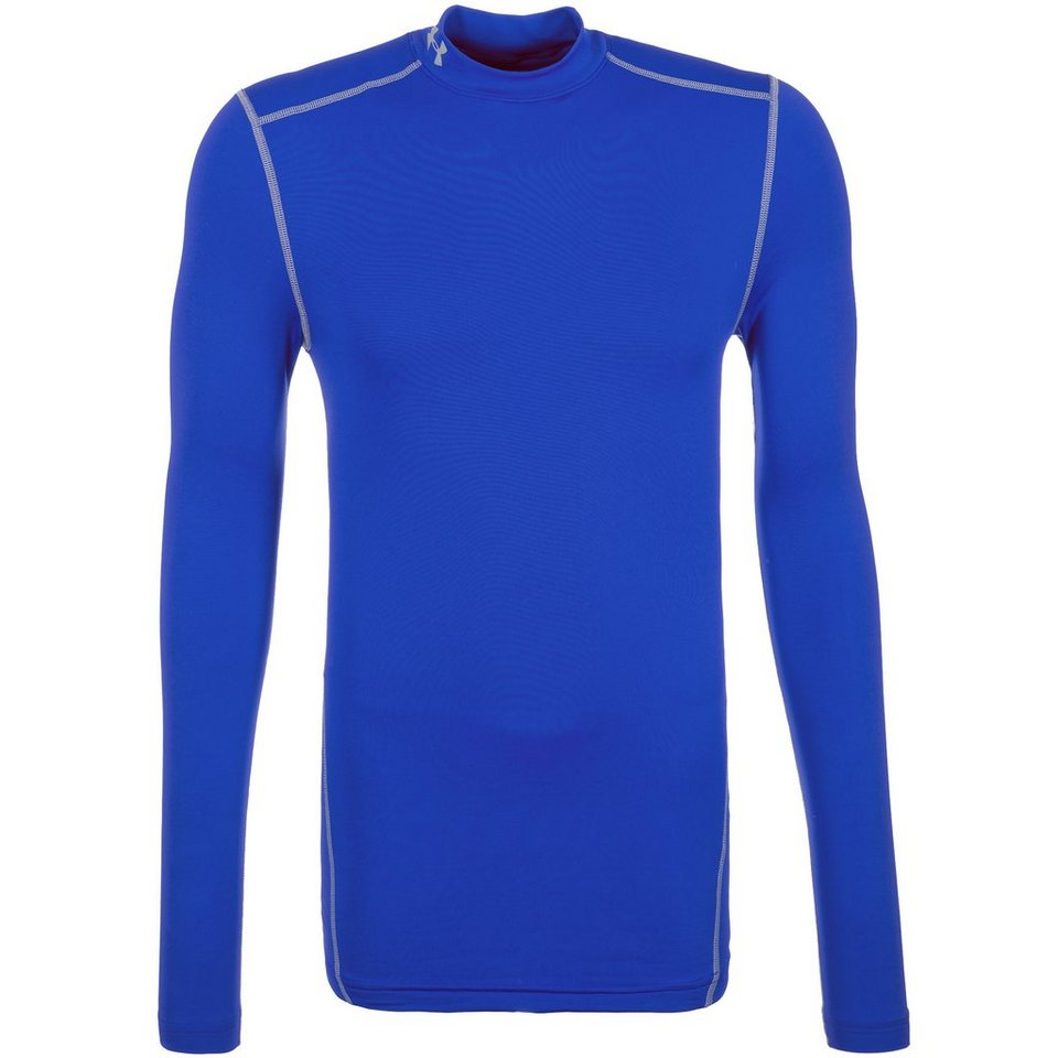 Under Armour® ColdGear Compression Mock Funktionsshirt Herren in blau / grau