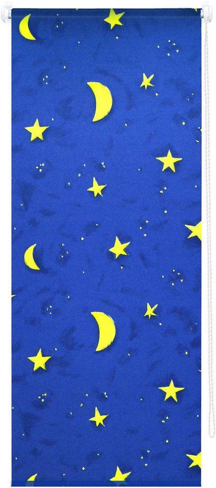 Seitenzugrollo, Good Life, »Sternenhimmel«, Verdunkelung/Energiesparend, Fixmaß, ohne Bohren in blau / gelb