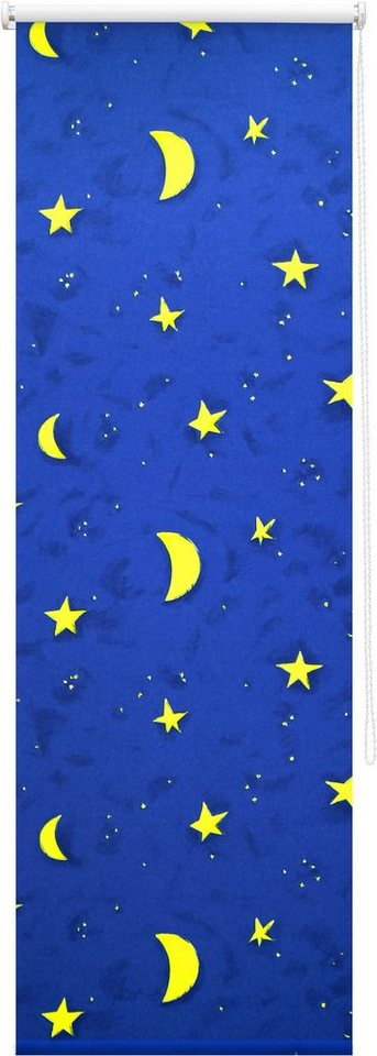 Seitenzugrollo, Good Life, »Sternenhimmel«, Verdunkelung/Energiesparend, Fixmaß in blau/gelb