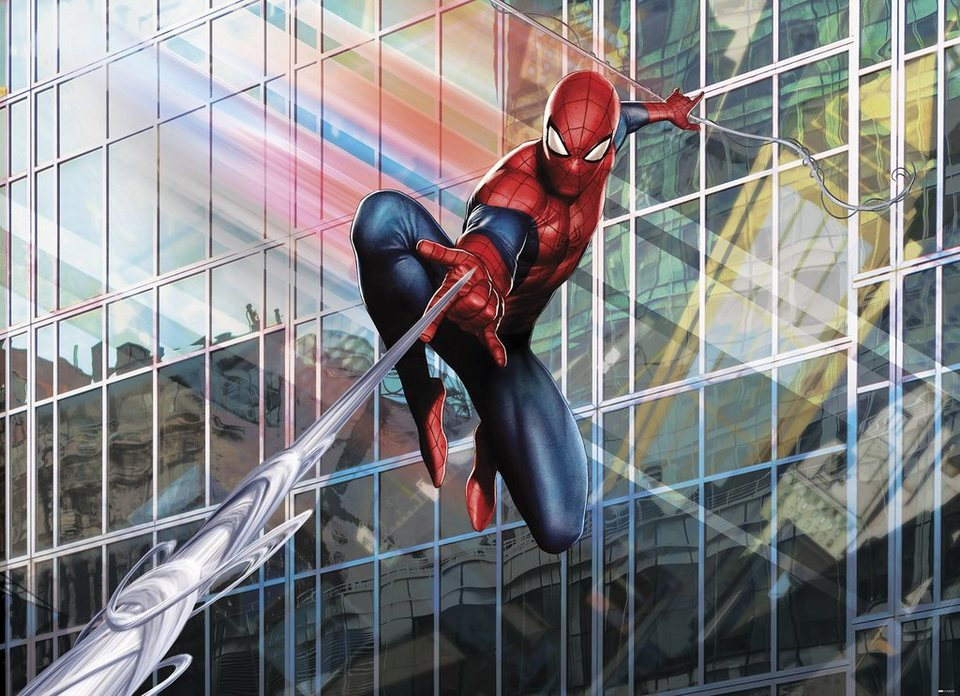 Papiertapete, Komar, »Spider-Man Rush«, 254/184 cm in rot/blau