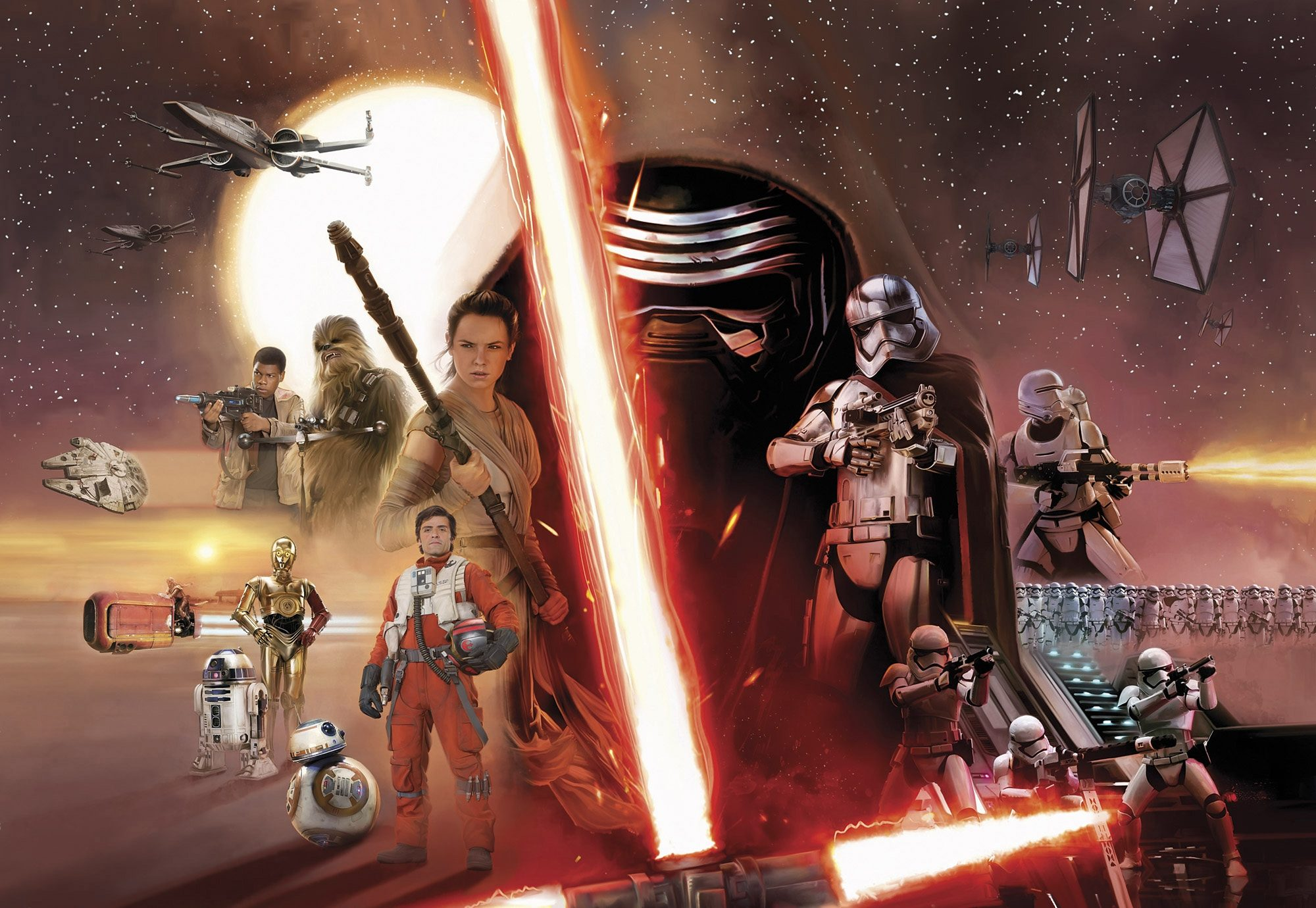 Papiertapete, Komar, »STAR WARS EP7 Collage«, 368/254 cm