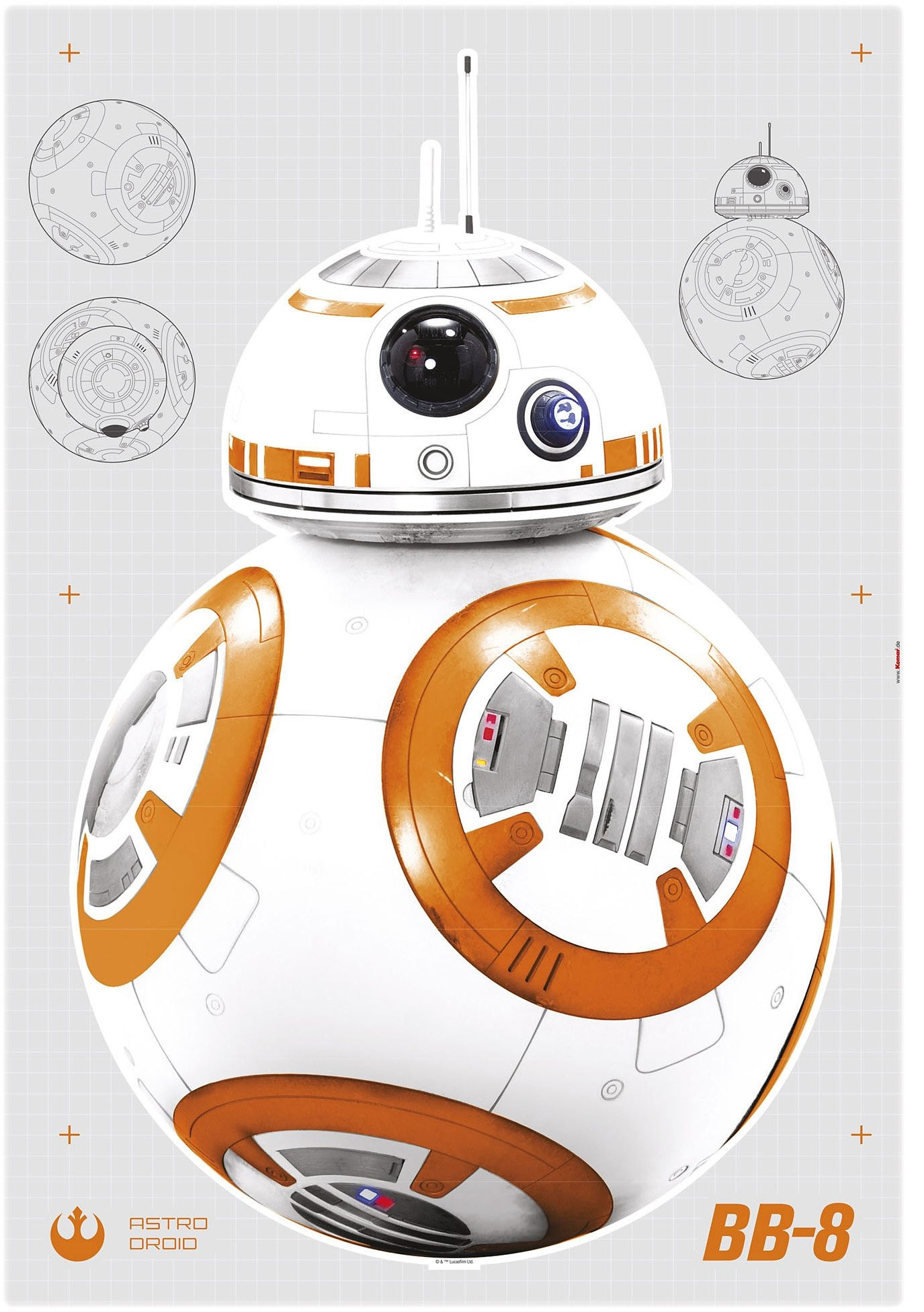 Wandsticker, Komar, »Star Wars BB-8«, 100/70 cm
