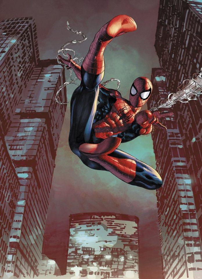 Papiertapete, Komar, »Spider-Man Jump«, 184/254 cm in rot/blau