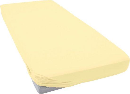 Spannbettlaken »Flausch-Jersey«, Schlafgut, mit Hochflor-Effekt