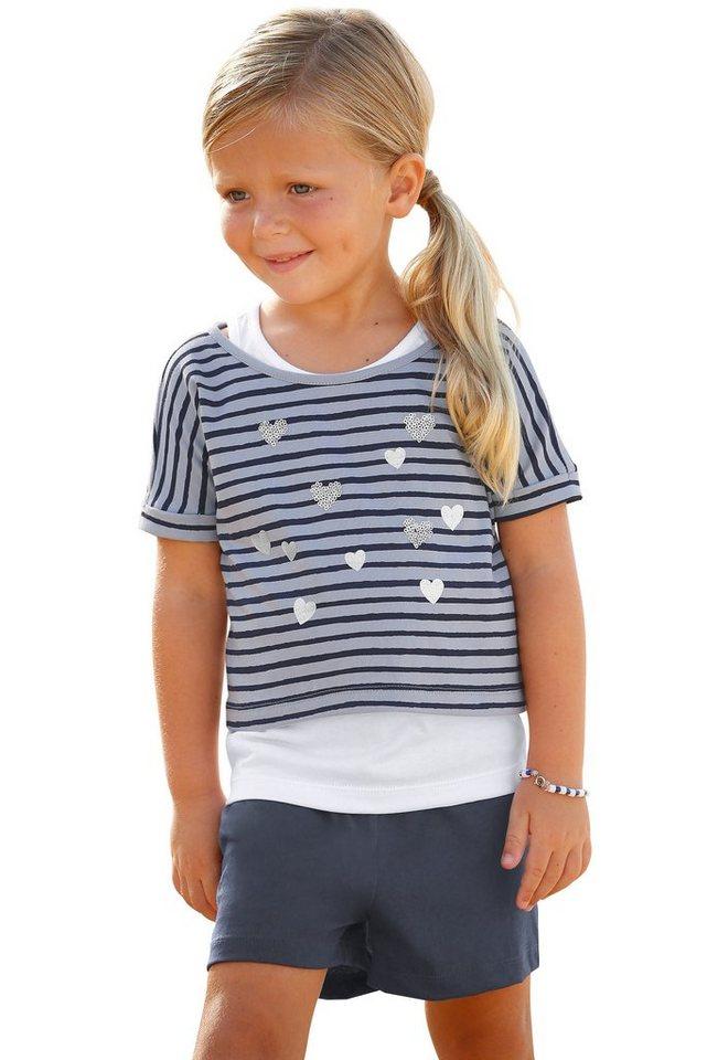Kidoki T-Shirt & Shorts (Set, 3-tlg.), für Mädchen in Marine-Gestreift