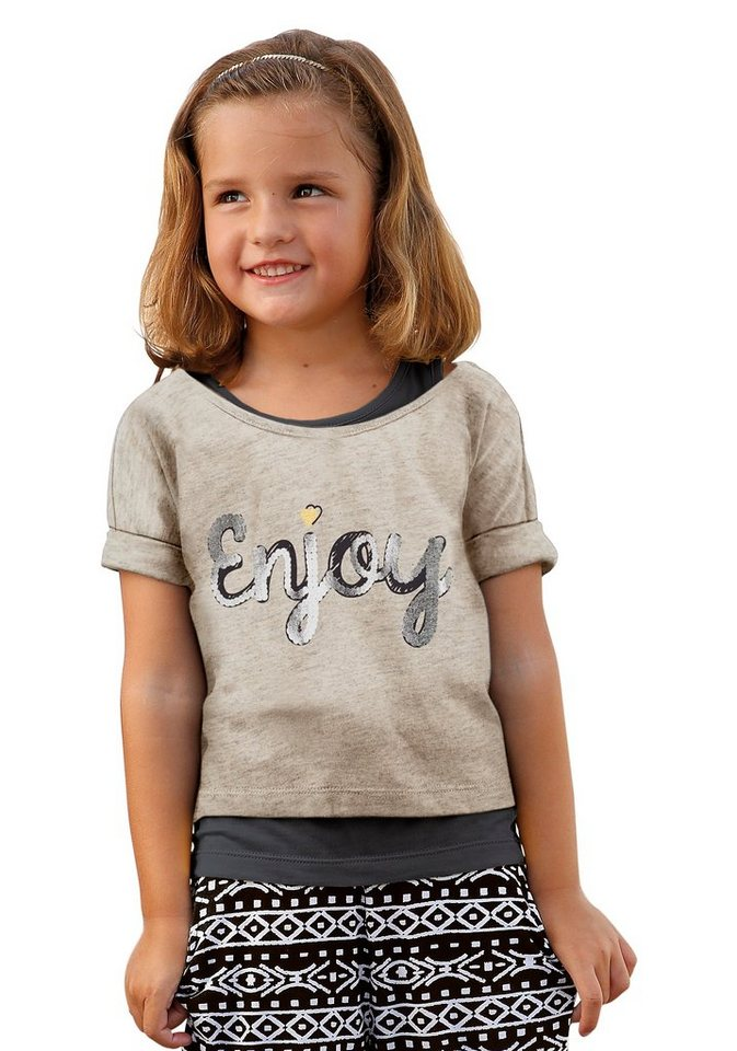 Kidoki Shirt & Top (Set, 2-tlg.), für Mädchen in Beige-Anthrazit