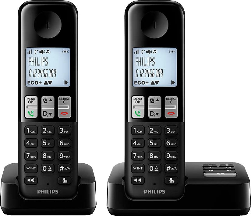 Philips D2352 DUO Schnurloses DECT Telefon-Set mit AB in schwarz