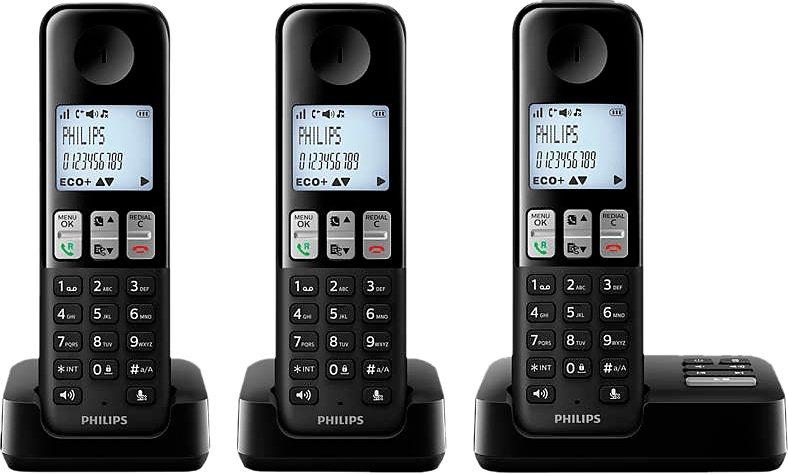 Philips D2353 TRIO schnurloses DECT Telefon-Set mit AB in schwarz