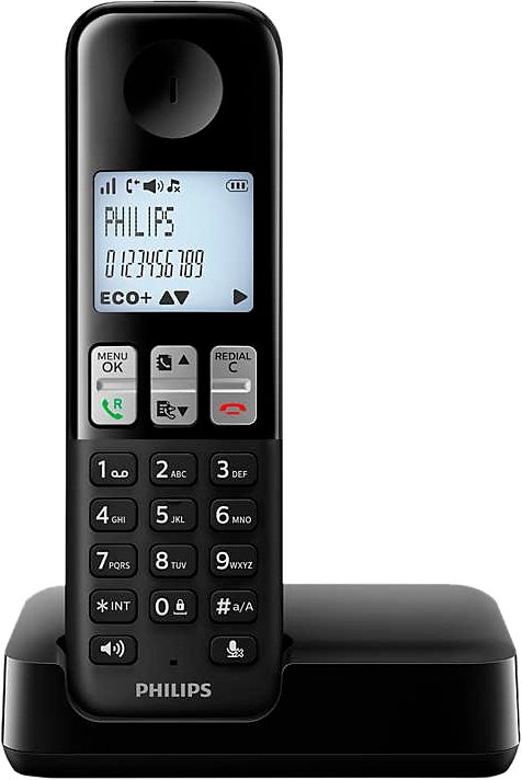 Philips D2301 Schnurloses DECT Telefon in schwarz