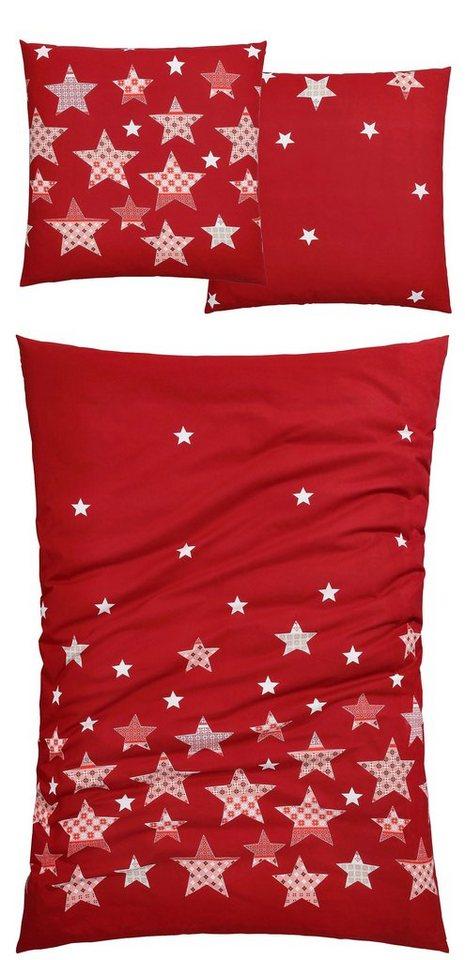 Bettwäsche, Casatex, »Sky«, mit winterlichen Motiven in rot
